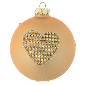 Glass bauble, gold with rhinestones, 90mm diameter s3