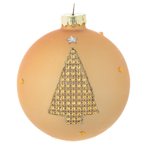 Glass bauble, gold with rhinestones, 90mm diameter 1