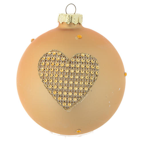 Glass bauble, gold with rhinestones, 90mm diameter 3