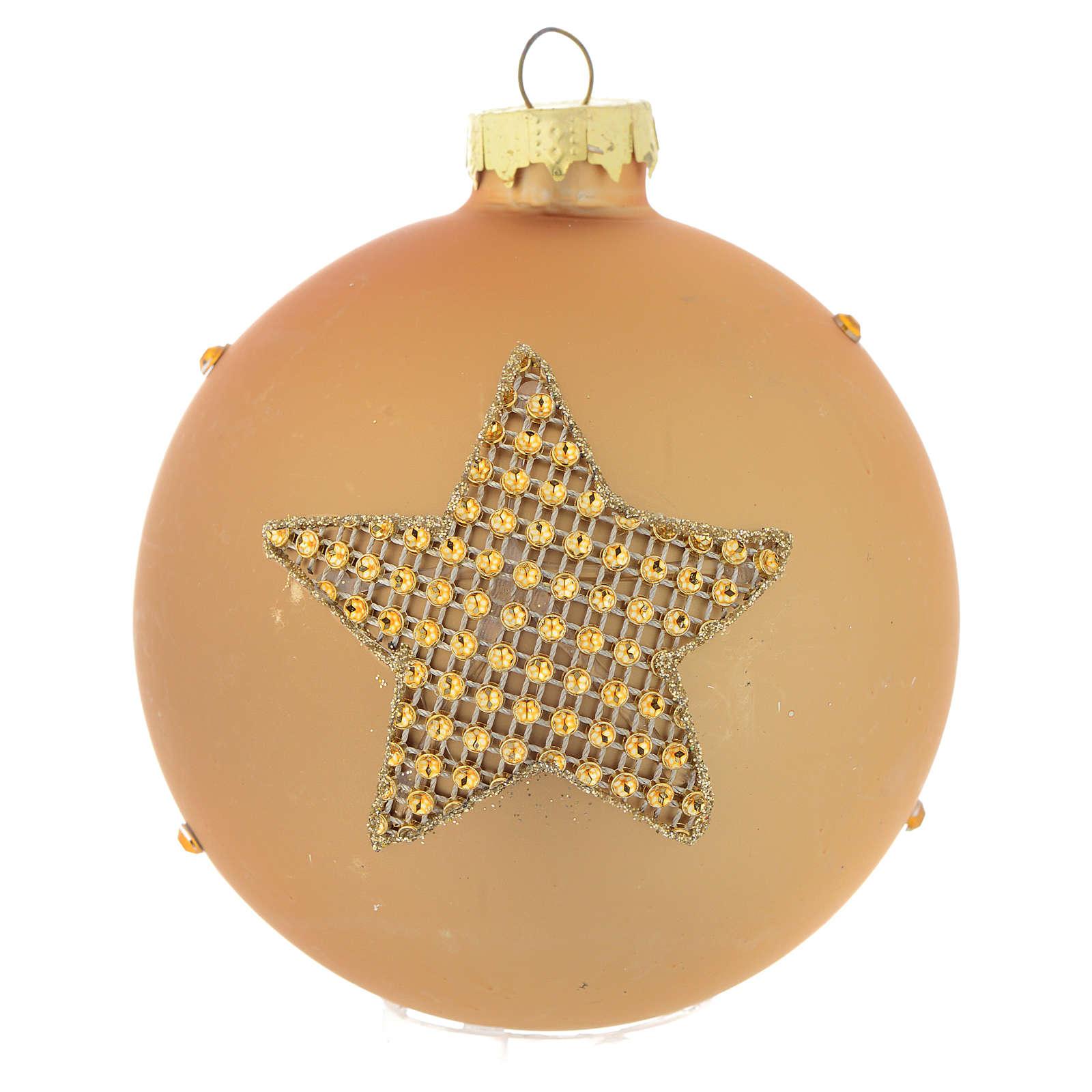 Bola árbol de Navidad vidrio dorado y strass 90 mm 4