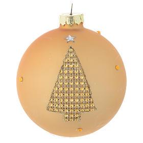 Bola árbol de Navidad vidrio dorado y strass 90 mm s1