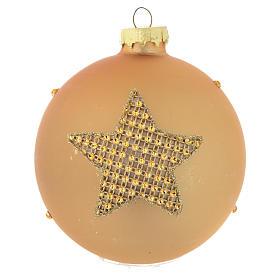 Bola árbol de Navidad vidrio dorado y strass 90 mm s2