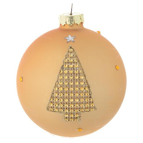 Bola árbol de Navidad vidrio dorado y strass 90 mm 1