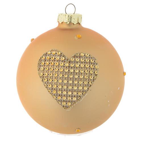 Bola árbol de Navidad vidrio dorado y strass 90 mm 3