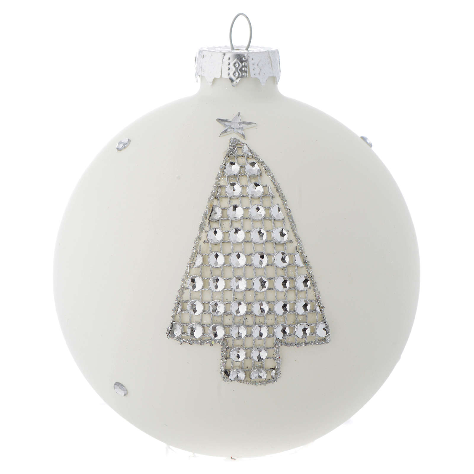 Bola vidrio blanco y strass árbol de Navidad 90 mm 4