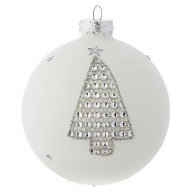 Bola vidrio blanco y strass árbol de Navidad 90 mm s1