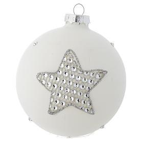 Bola vidrio blanco y strass árbol de Navidad 90 mm s2