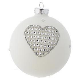 Bola vidrio blanco y strass árbol de Navidad 90 mm s3
