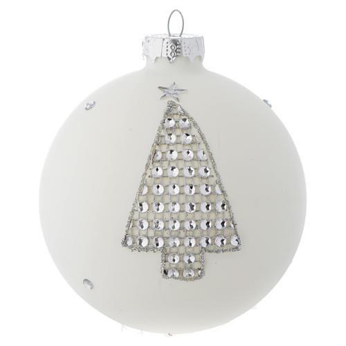 Bola vidrio blanco y strass árbol de Navidad 90 mm 1