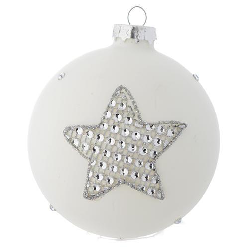 Bola vidrio blanco y strass árbol de Navidad 90 mm 2