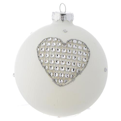 Bola vidrio blanco y strass árbol de Navidad 90 mm 3