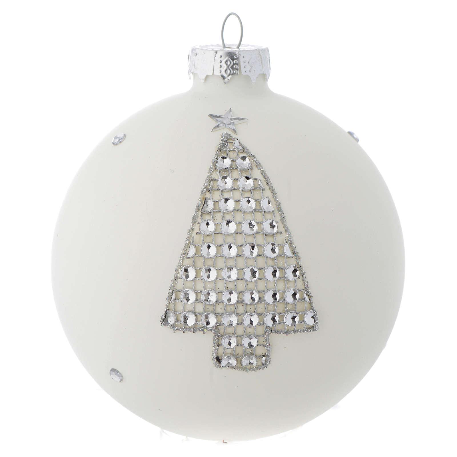 Palla Albero Natale 90 mm vetro bianco strass 4