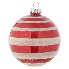 Glass bauble, red with white glitter, 80mm diameter s2