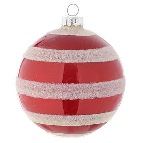 Glass bauble, red with white glitter, 80mm diameter s3