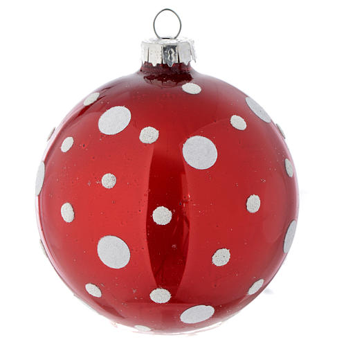Glass bauble, red with white glitter, 80mm diameter 1