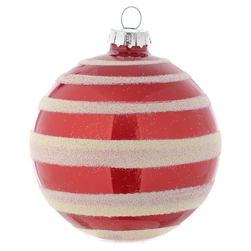 Glass bauble, red with white glitter, 80mm diameter 2