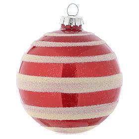 Palla vetro Albero Natale 80 mm rosso bianco s2