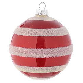Palla vetro Albero Natale 80 mm rosso bianco s3