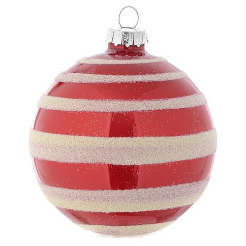 Palla vetro Albero Natale 80 mm rosso bianco 2