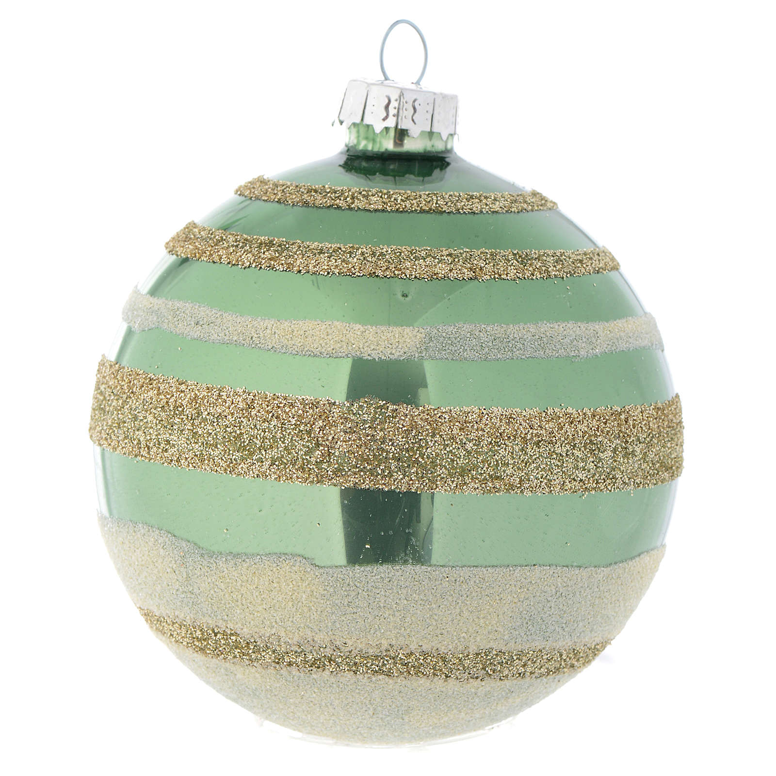 Palla vetro Albero Natale 80 mm verde silver 4