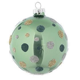Palla vetro Albero Natale 80 mm verde silver s2
