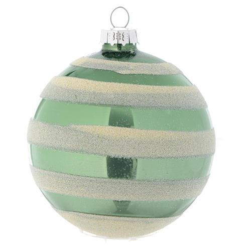 Palla vetro Albero Natale 80 mm verde silver 1
