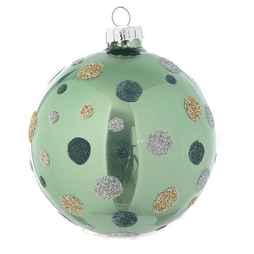 Palla vetro Albero Natale 80 mm verde silver 2