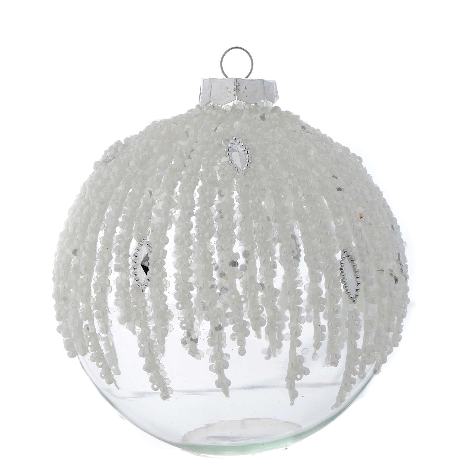 Glass bauble, transparent with pearl beads, 80mm diameter 4