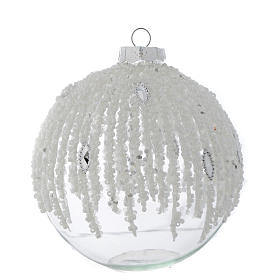 Glass bauble, transparent with pearl beads, 80mm diameter s1