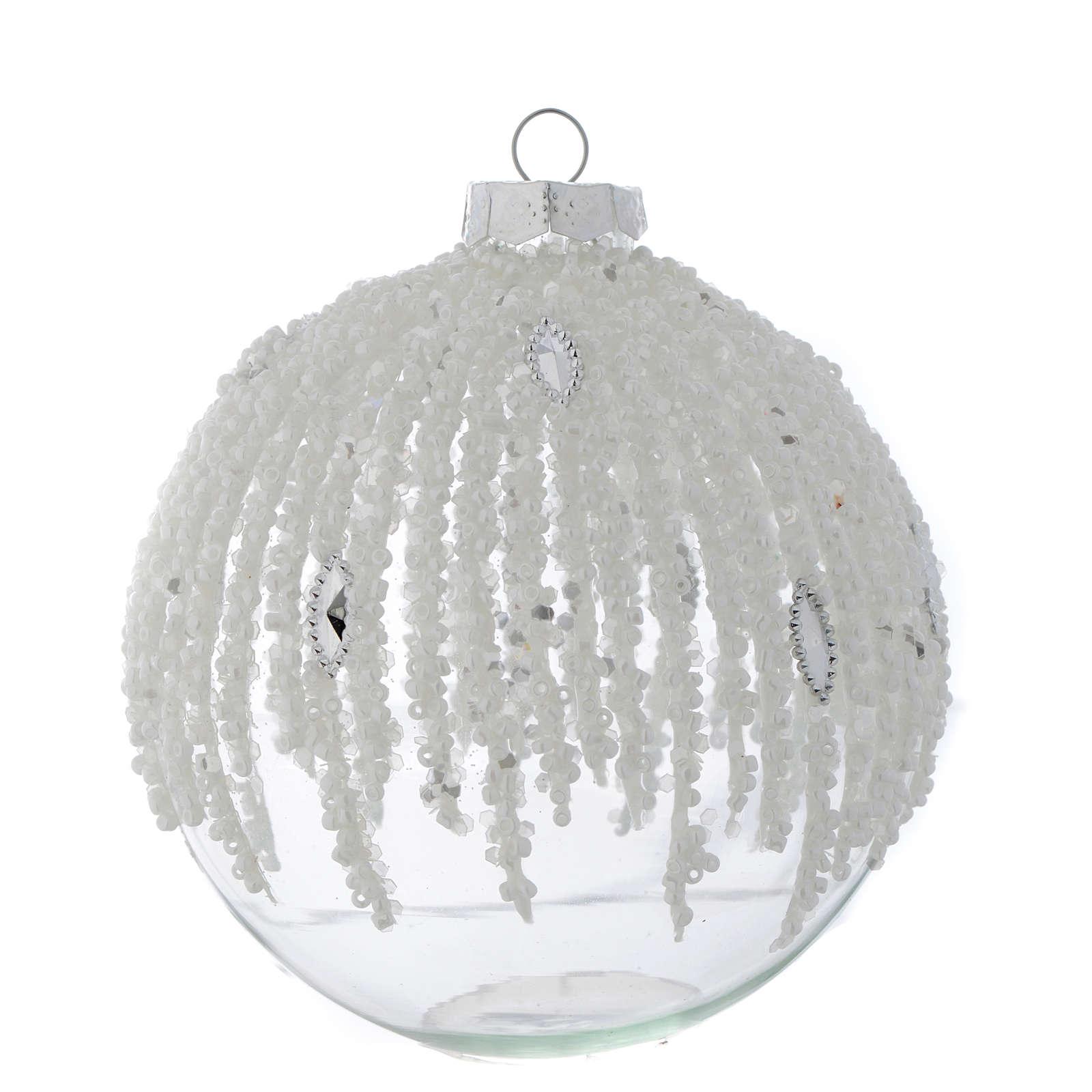 Palla Albero Natale 100 mm vetro trasparente decorato perline 4