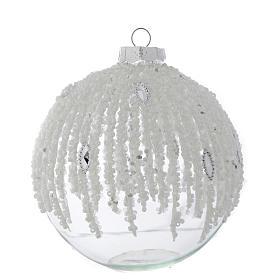 Palla Albero Natale 100 mm vetro trasparente decorato perline s1