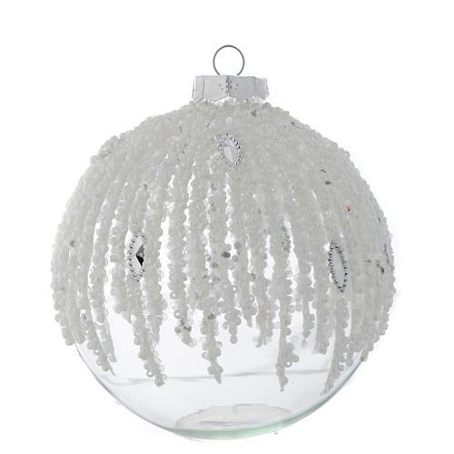 Palla Albero Natale 100 mm vetro trasparente decorato perline 1