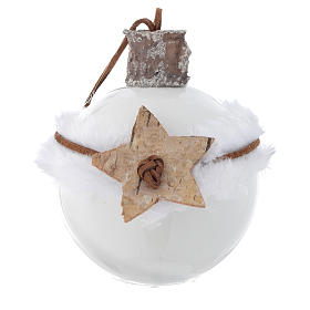 Glass bauble, white with Christmas symbols, 80mm diameter s2
