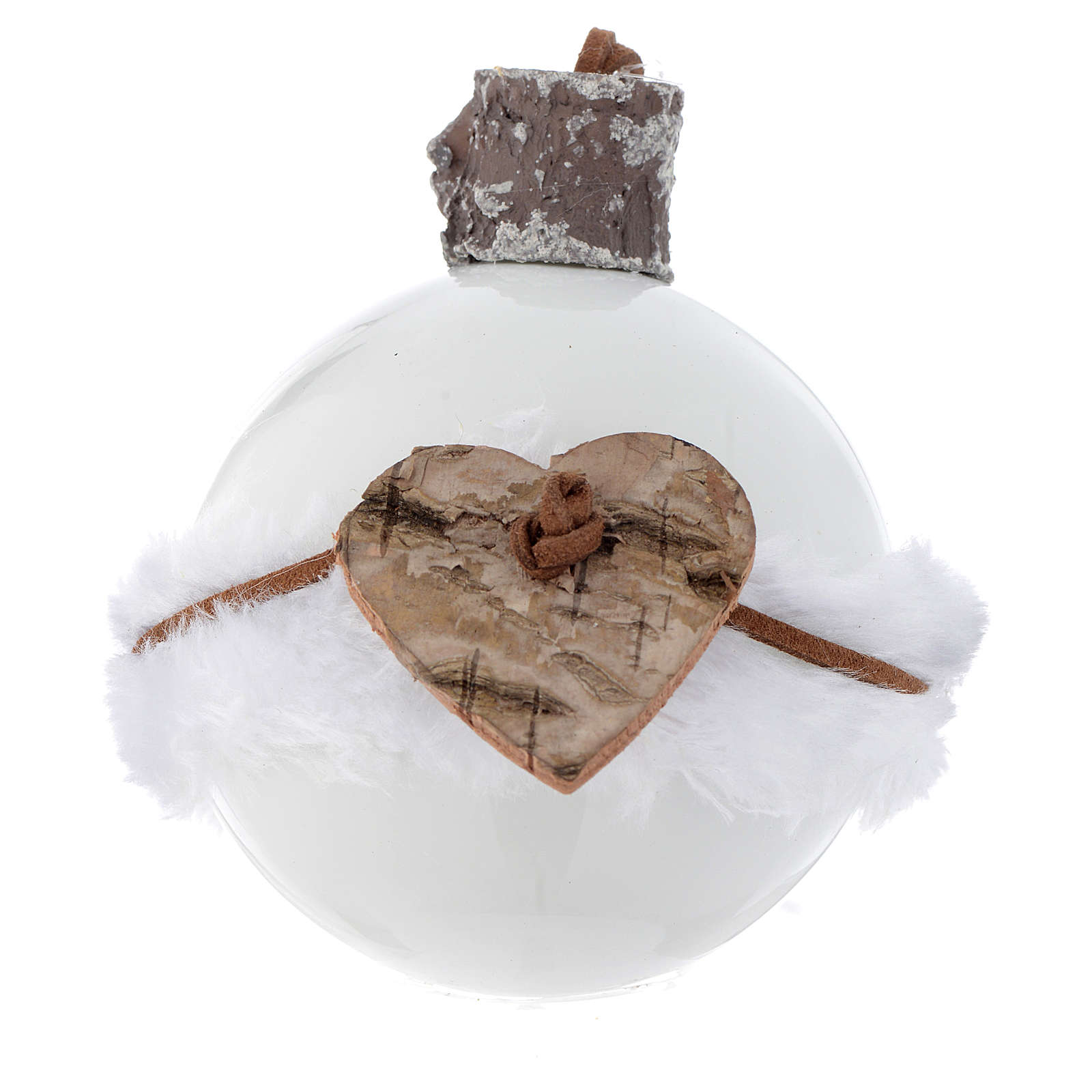 Bola árbol de Navidad de vidrio blanco 80 mm con símbolos navideños 4