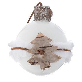 Bola árbol de Navidad de vidrio blanco 80 mm con símbolos navideños s1