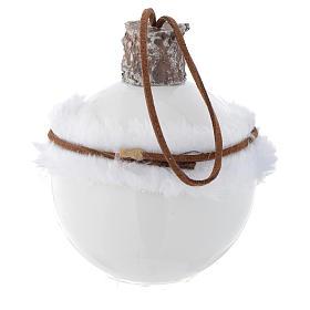 Bola árbol de Navidad de vidrio blanco 80 mm con símbolos navideños s4