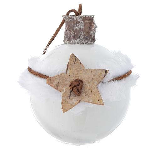 Bola árbol de Navidad de vidrio blanco 80 mm con símbolos navideños 2