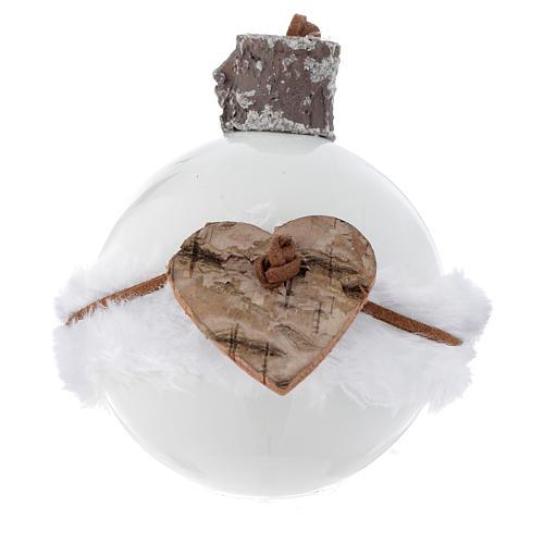 Bola árbol de Navidad de vidrio blanco 80 mm con símbolos navideños 3