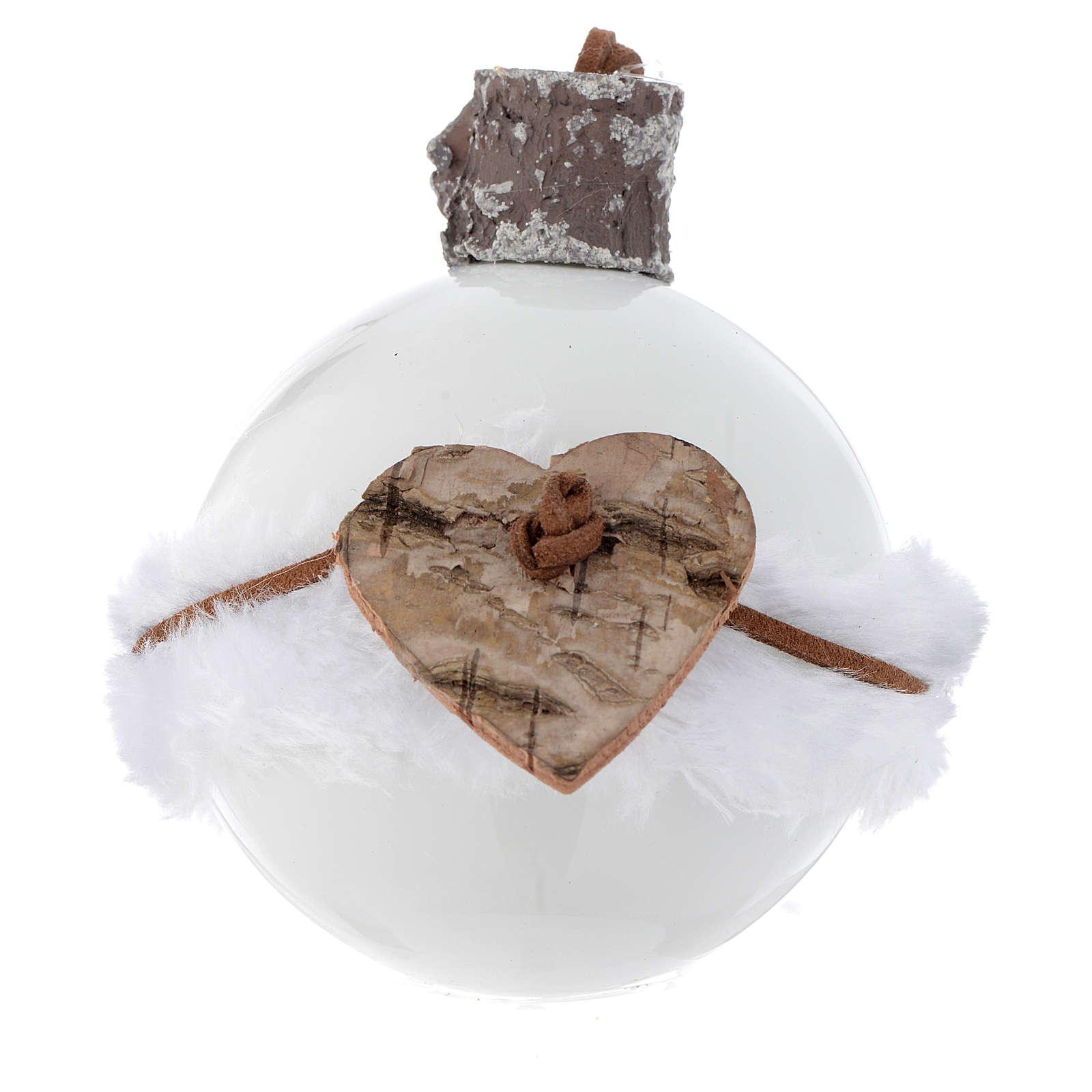 Palla Albero Natale vetro bianco 80 mm simboli natalizi 4