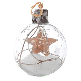 Glass Christmas bauble, with snow inside, 80mm diameter s4