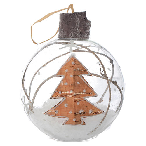 Glass Christmas bauble, with snow inside, 80mm diameter 1