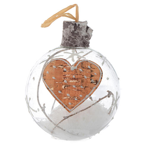 Glass Christmas bauble, with snow inside, 80mm diameter 2