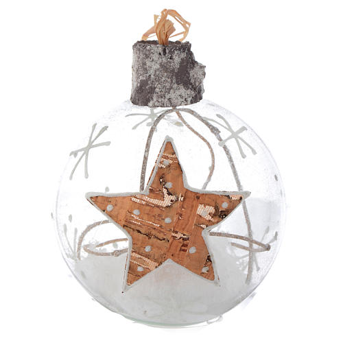 Glass Christmas bauble, with snow inside, 80mm diameter 3