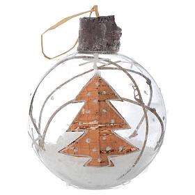 Bola de vidrio árbol de Navidad 80 mm con nieve s1