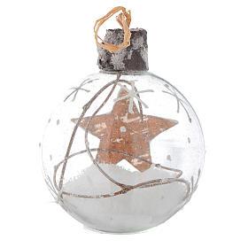 Bola de vidrio árbol de Navidad 80 mm con nieve s4