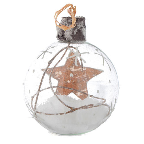 Bola de vidrio árbol de Navidad 80 mm con nieve 4