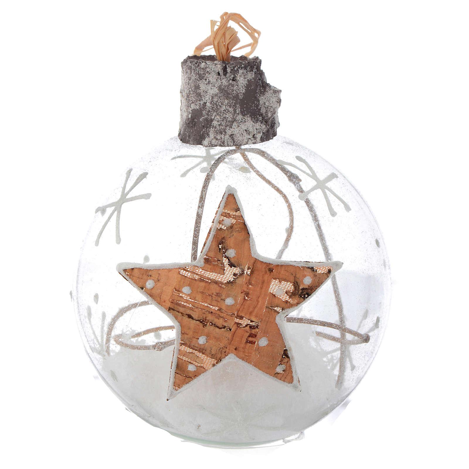 Palla Albero Natale vetro 80 mm neve interna 4