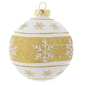Palla Albero Natale 80 mm vetro bianco glitter oro s1