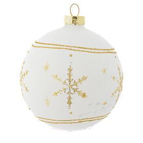 Palla Albero Natale 80 mm vetro bianco glitter oro s3