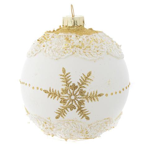 Palla Albero Natale 80 mm vetro bianco glitter oro 2